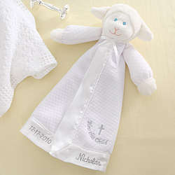 Bless This Child Christian Lamb Personalized Baby Blanket Doll