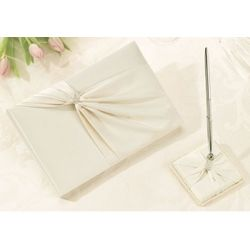 Ivory Sash Wedding Guest Book and Pen Set