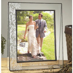 Large Wedding Scroll Etched Picture Frame