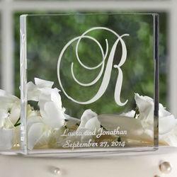 Elegant Initial Acrylic Square Cake Top