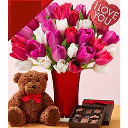 Ultimate 30 Sweetheart Tulips Bouquet with Bear and Chocolates