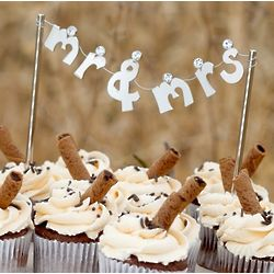 Rhinestone Mr. and Mrs. Banner Cake Pick