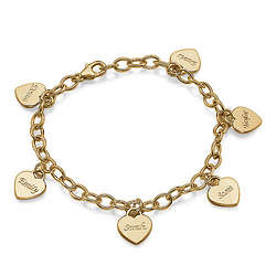 Gold-Plated Personalized Heart Charm Bracelet