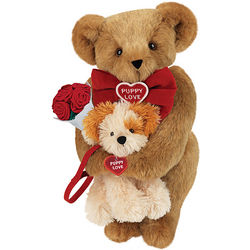 "15"" Puppy Love Teddy Bear with Red Roses"