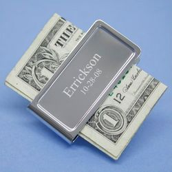 Classic Engraved Chrome Money Clip