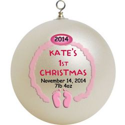 Baby's First Christmas Ornament Pink or Blue Feet