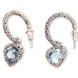 Love Sparkles Blue Topaz Half Hoop Heart Earrings