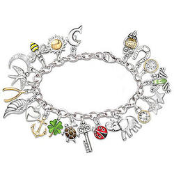 Endless Luck Charm Bracelet with 20 Sculpted Symbolic Charms