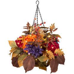 Aubergine Dahlia and Hydrangea Fall Hanging Basket