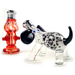 Glass Dog and Hydrant Salt and Pepper Shaker Set