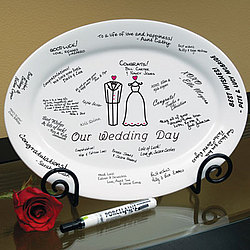 Bride and Groom Signature Guest Book Platter with Easel
