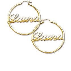 18k Gold Plated Sterling Silver Hoop Name Earrings