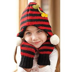 Kid's Wool Beanie with Stripes