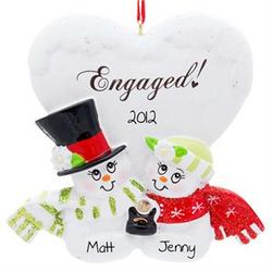 Snow Couple Holding Engagement Ring Ornament