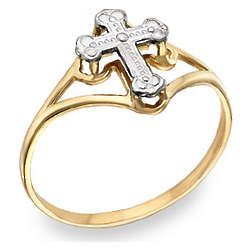 Ladies' Cross 14K Two-Tone Gold Ring