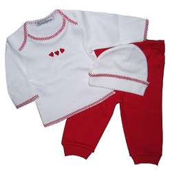 Hearts Shirt and Pant with Hat Layette