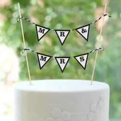 Mr. & Mrs. Flag Banner Cake Topper