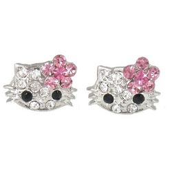 Extra Small Kitty Crystal Stud Earrings