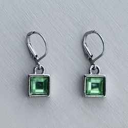 Green Square Peridot Earrings