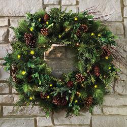 Mixed Bough Prelit Juniper Holiday Trim Wreath