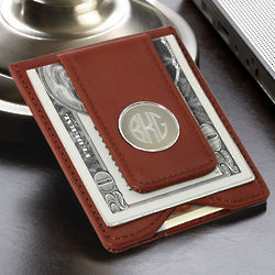 Personalized Brown Leather Magnetic Money Clip and Wallet