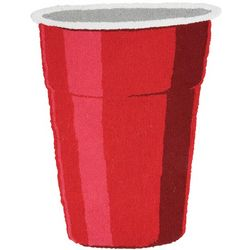 Red Party Cup Hooked Rug