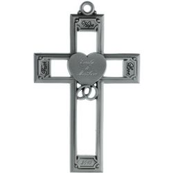 Faith, Hope and Love Personalized Pewter Wedding Cross