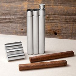 Personalized Double Cigar Holder and Flask
