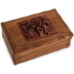 Tree of Love Carved Walnut Jewelry Box