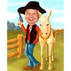 Your Photo in a Cowboy Caricature