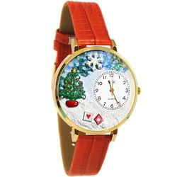 Large Christmas Tree Watch in Gold Case