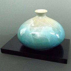 Japanese Porcelain Teal Bud Vase with Stand