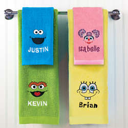 Personalized Sesame Street Embroidered Bath Towels