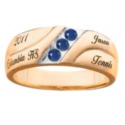 Mens Personalized 18K Gold Over Sterling Birthstone Class Ring