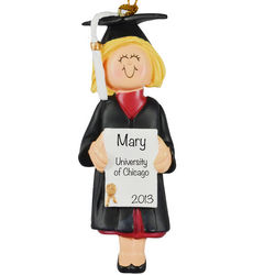 Personalized Blonde Female Graduation Ornament
