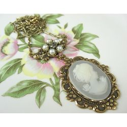 Wedding Cameo Flowerette Pendant Necklace