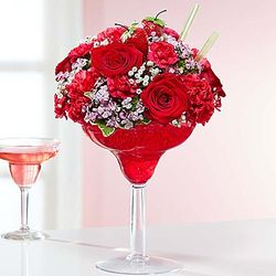 Strawberry Floral Margarita Bouquet in Medium