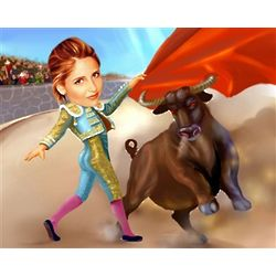Bullfight Caricature Print from Photo