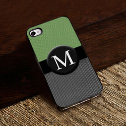 Personalized Black Trim Single Initial iPhone Case