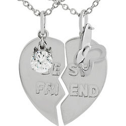 Sterling Silver Best Friends 2 Half Heart Pendants