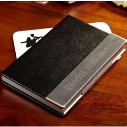 Personalized Classic Black Business Card Case