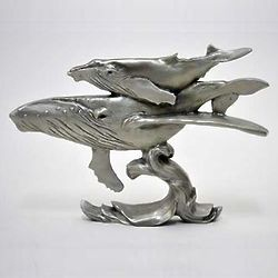Humpback Whales Pewter Shelf Accent