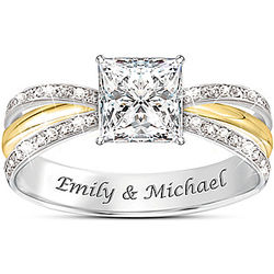 Personalized Infinity Cut Topaz Ring with 2 Engraved Names