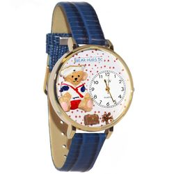Teddy Bear Hugs Whimsical Watch in Large Gold Case