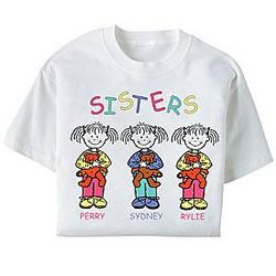 Girls Personalized Sisters T-Shirt