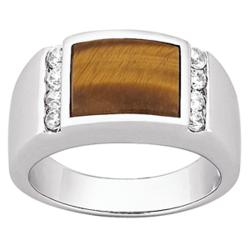 Men's Sterling Silver Tiger Eye CZ Ring