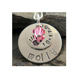 Handprint Personalized Hand Stamped Necklace
