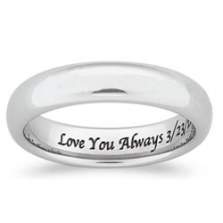 Tungsten Polished Engraved Wedding Band
