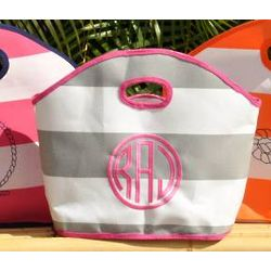 Personalized Small Striped gg Beach Tote