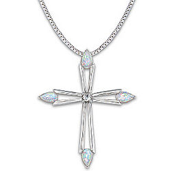 Faith's Inspiration Opal and Diamond Cross Pendant